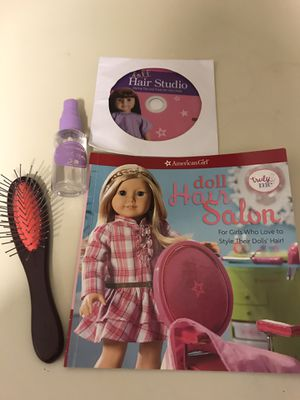 AMERICAN GIRL DOLL BRUSH SPRAY SALON BOOK AND CD for Sale in Newport Beach, CA