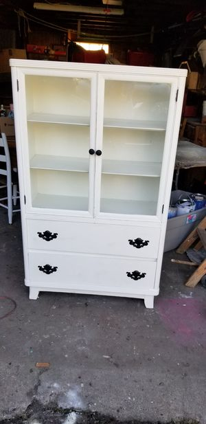 Vintage glass cabinet. Painted in Alabaster White. for Sale in Hannibal, MO