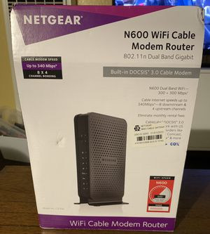 NETGEAR N600 WiFi DOCSIS 3.0 Cable Modem Router for Sale in Lynwood, CA