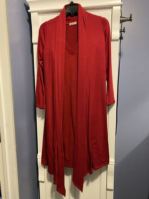 Women's Pretty Young Thing Cardigan (Size Med) & Zenana Outfitters Long Shirt/Dress (Size Large) - In Red (Firm Price) for Sale in Carrollton, TX