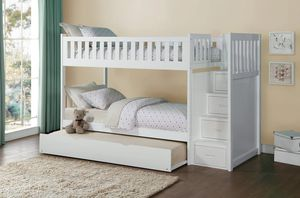 Galen White Twin/Twin Reversible Step Storage Bunk Bed | B2053 byHomelegance for Sale in Jessup, MD
