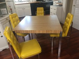 "modern table and chairs 41"" square. (1972) Has one add'l 17"" leaf Vinyl upholstery. Simulated Butcher block formica top for Sale in Bellevue, WA"