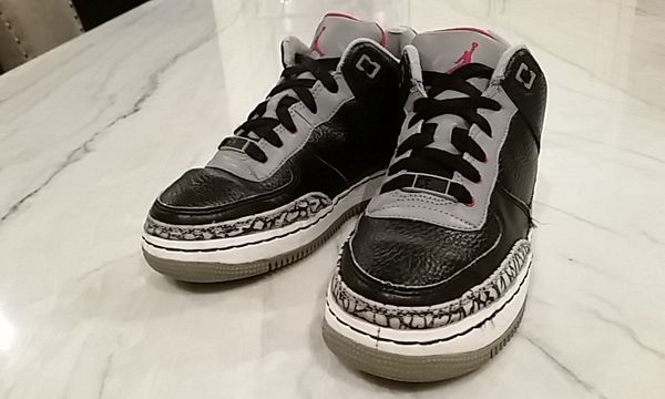8a44dc46f9dee0 NIKE AIR JORDAN AF-1 BEST OF BOTH WORLDS BLACK CEMENT BASKETBALL SHOES KIDS  size 5Y