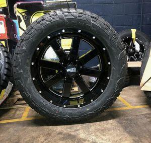 "22x10 Moto Metal MO962 Black Wheels Rims Tires 35"" MT 5x5.5 Dodge Ram 1500 for Sale in Tampa, FL"