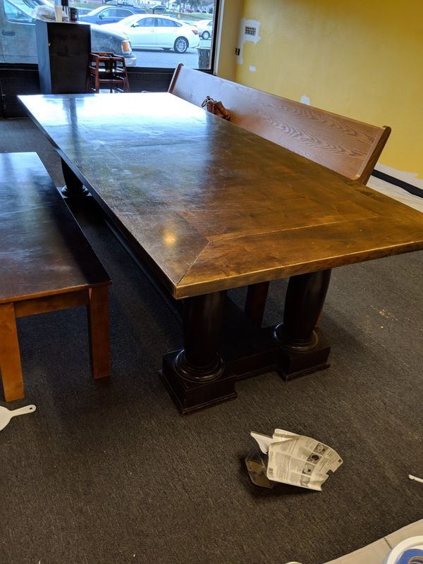 Large table with benches.