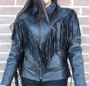 Women Fringes Side Laces Motorcycle Biker Leather Jacket for Sale in Austin, TX
