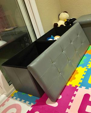 New in box 43x15x15 inches foldable storage ottoman toys clothes storage seating black brown or grey for Sale in Covina, CA