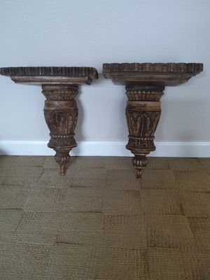 """Rustic hand carved wooden wall shelves. 17"""" long. The shelf is 12"""" X 7"""" for Sale in Ridgefield, WA"""