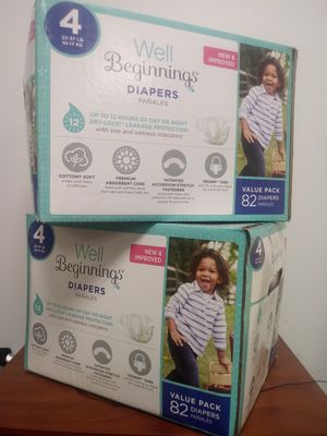 Well beginnings diapers size 4- 82 count boxes $10 for Sale in Sugar Land, TX
