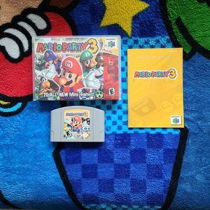 Mario Party 3 w/booklet for Sale in Pasadena, TX