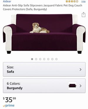 "Like New 70"" Burgundy Aidear Anti-Slip Sofa Slipcover Jacquard Fabric Pet Dog Couch Cover Protector for Sale in Atlanta, GA"