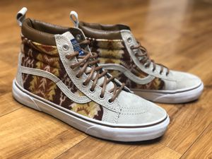 Vans Mens 7.5 Womens 9 Sk8 Hi MTE Pendleton Tribal Tan Wool Suede Sneakers These shoes are in fantastic condition and have only been worn one time. for Sale in Santee, CA