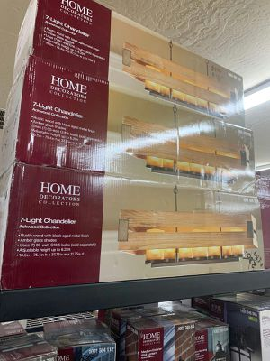 7-Light Wood Rectangular Chandelier with Amber Glass Shades for Sale in Phoenix, AZ