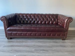 Chesterfield oxblood leather sofa couch - antique for Sale in San Francisco, CA