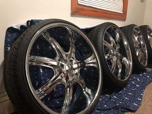 "U2 35t 24"" chrome rims .. tires good. $1000 obo 5 lug universal. Including 4 spacers adaptors for Sale in Elk Grove Village, IL"