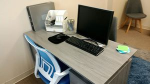 Office furniture for sale 3 desk top copier machine mini frig 3 desks chair seating area 4 chairs coffee table for Sale in Kissimmee, FL