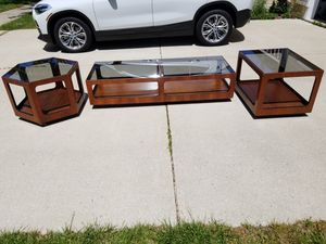 Mid century modern lane Alta Vista smoked glass coffee table and 2 side tables for Sale in Glen Burnie, MD