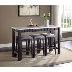 MARBLE TOP ESPRESSO FINISH 4 PIECE COUNTER HEIGHT DINING TABLE STOOLS / MESA BANCOS COMEDRO MUEBLES for Sale in Moreno Valley,  CA