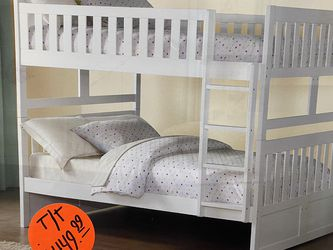 Twin Over Twin White Bunk Bed (mattress Sold Separately ) for Sale in Orlando,  FL