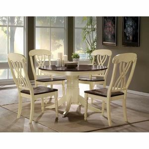 5 PIECE COTTAGE STYLE ROUND BUTTERMILK OAK FINISH DINING TABLE SET for Sale in Pico Rivera, CA