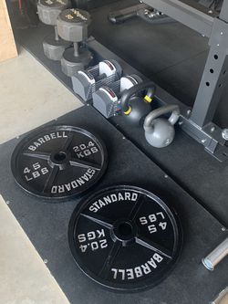 Cast Iron Olympic Plates - 45 lbs (Pair - NEW) for Sale in Roseville,  CA