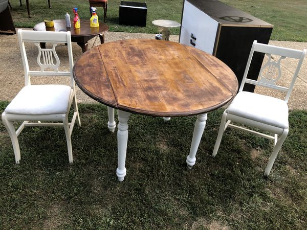 Bistro table and two Antique Chairs