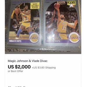 Magic johnson and Vlade Divac Basketball Cards for Sale in Moreno Valley, CA