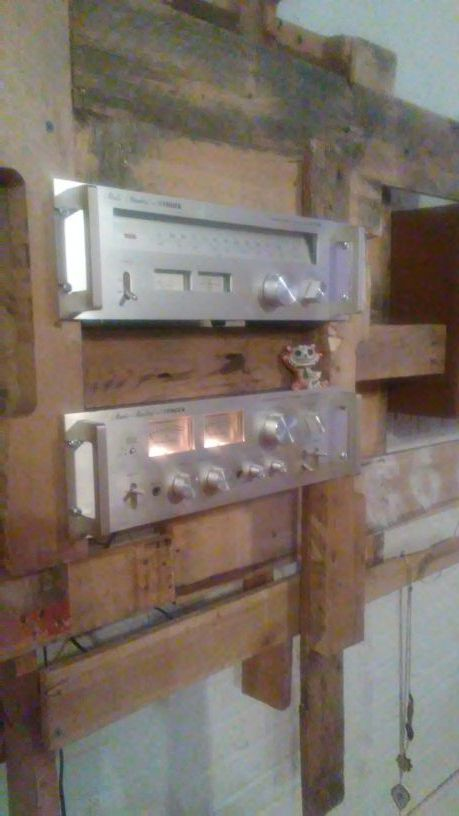 Customized wall mounted stereo rack. With vintage Fisher/Studio-standard receiver and radio. Technics sb-cr77 speakers