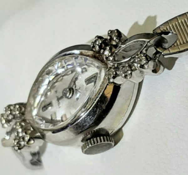 Pierre Vallee lady's 14k white gold wind up watch (10k GF band!)