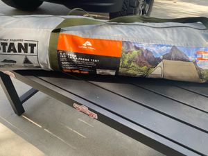 Ozark trail 4 person a-frame tent used once, Coleman 8 person Montana tent used 4 times needs 1 replacement pole, igloo cooler used normal wear for Sale in San Bernardino, CA