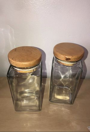 IKEA Glass Storage Containers / Wood Top for Sale in Miami, FL