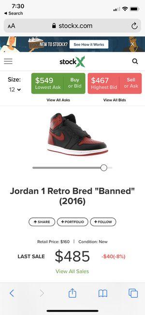 Jordan 1 Banned 2019 release size 12 for Sale in Eustis, FL