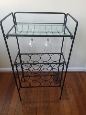 Iron wine rack - holds both your wine bottles and glasses! for Sale in Arlington, VA