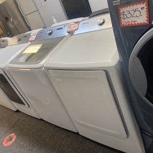 New Scratch&dent Samsung Top Load Washer And Electric Dryer Set 6 Months Warranty for Sale in Laurel, MD
