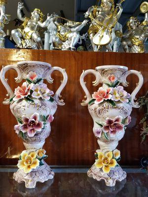 Pair of vases capodimonte porcelain for Sale in Miami, FL