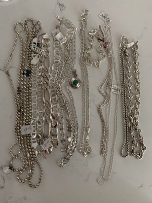 Silver bracelets and chains for sale all new for Sale in Chicago, IL