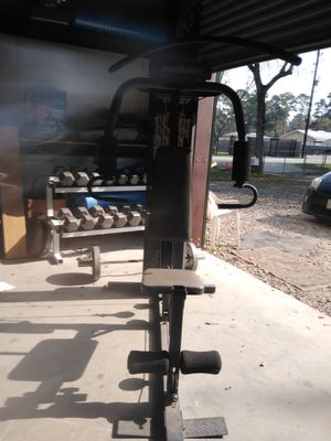 Weight machine. ( Dumbbells in the back are sold already) for Sale in Spring, TX