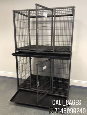 """Dog pets cage kennel size 37"""" medium stackable with plastic floor tray and wheels new in box 📦 for Sale in La Verne, CA"""