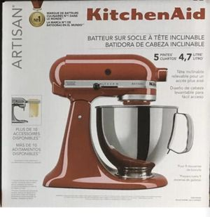 Red Artisan Kitchen Aid stand mixer by KitchenAid Brand New Never Opened mixer tilt head all attachments included price is Firm!!! No less! for Sale in Huntington Beach, CA