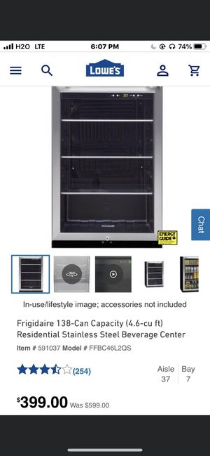 Frigidaire ElectroLux 4.6-Cu ft total storage holds up to 138 12-oz cans Brand new never with Receipt been used for only $299 flat Retail from $399 for Sale in La Vergne, TN