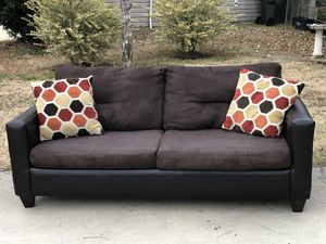 Couch with Suede seat and Leather. Very good condition. Delivery available. Hablar espanol for Sale in Raleigh, NC