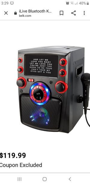 Bluetooth Karaoke with mic and lights works with CD's and words pop up on screen and video NEW for Sale in Placentia, CA