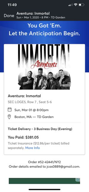 Aventura immortal tickets 03/01 TD Garden for Sale in Providence, RI