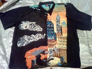 4 xL button up collar shirt - clothing - clothes - Short sleeve - shoes - pants - dress shirt - urban - spray paint - black - red - yellow for Sale in Naples, FL