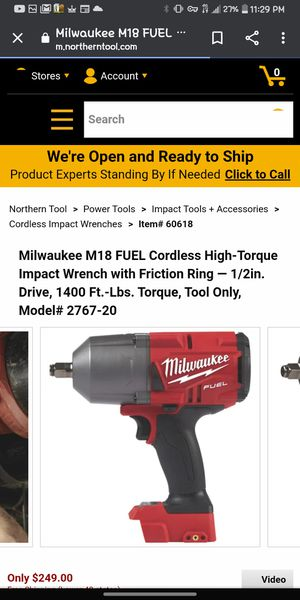 Milwaukee M18 FUEL Cordless High-Torque Impact Wrench with Friction Ring — 1/2in. Drive, 1400 Ft.-Lbs. Torque, Tool Only for Sale in Bonney Lake, WA