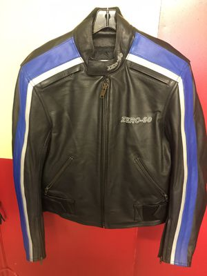 Zero-60 motorcycle riding jacket black with blue silver piping like new for Sale in East Providence, RI