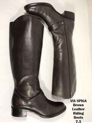 VIA SPIGA Women's Brown Leather Riding Boots 7.5 for Sale in Hyattsville, MD