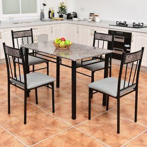 5 Piece Faux Marble Dining Set Table and 4 Chairs Kitchen Breakfast Furniture for Sale in Las Vegas, NV