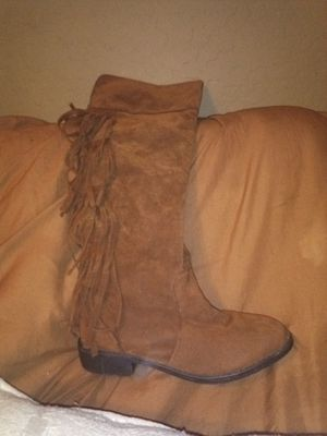Suede Fringe knee high boots size 7 1/2 for Sale in Tolleson, AZ