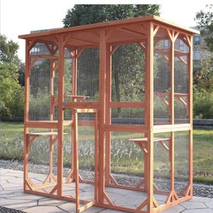 Large Wooden Outdoor Pet Cat House Enclosure Catio Cage Dog Kennel Parrot Cage, Outdoor Indoor Activity for Small Animals w/ 6 Platforms, Weatherproof for Sale in Ontario, CA
